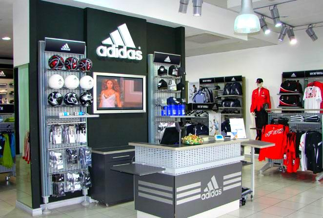 855ea62df Famous sports clothing brand Adidas store in Tashkent. The Adidas brand shop  in Tashkent offers high-tech branded clothing and footwear for sports