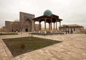 Tomb of Ghujdawani with the Ulugh Bek Madrassa behind