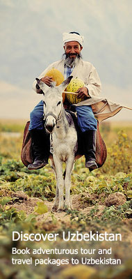 Uzbekistan Photos: Old Uzbek man with melons riding a donkey with a